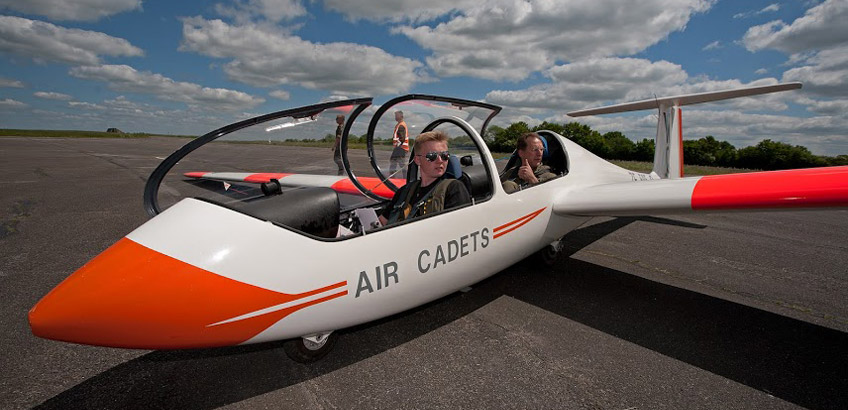 Cadet in a Glider on a runway