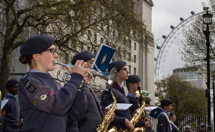 Air cadet band with the London Eye in the background