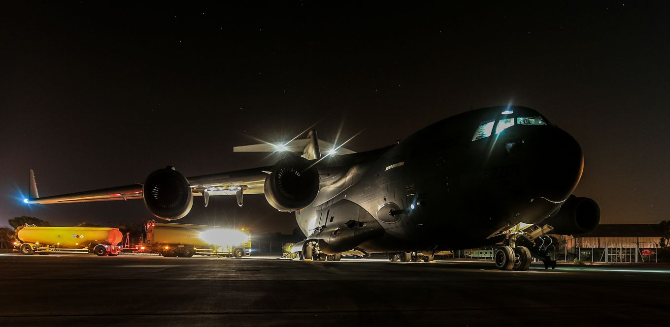 An RAF C-17 Globemaster at Royal Air Force Brize Norton
