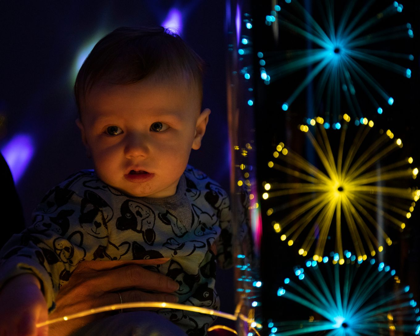 Nursery child in the new sensory room.