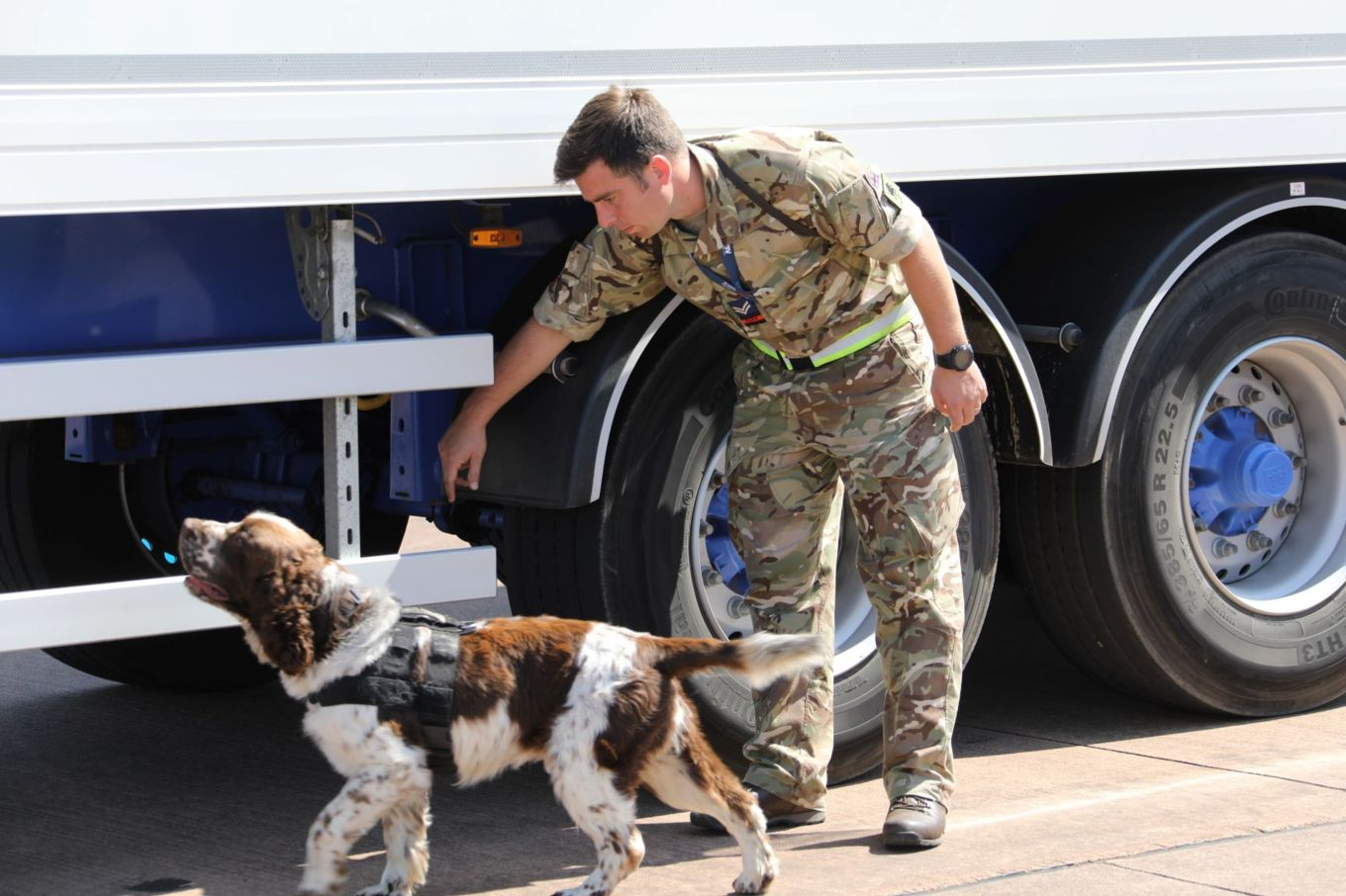Cpl Matt Butler with Arms Explosives Search Dog Johnny searching a heavy goods vehicle, prior to entering the RIAT complex