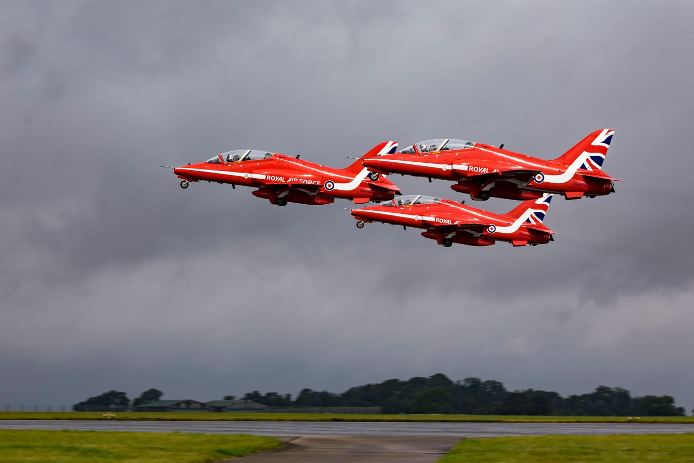 The Red Arrows departing RAF Scampton earlier today. Picture by Corporal Graham Taylor.