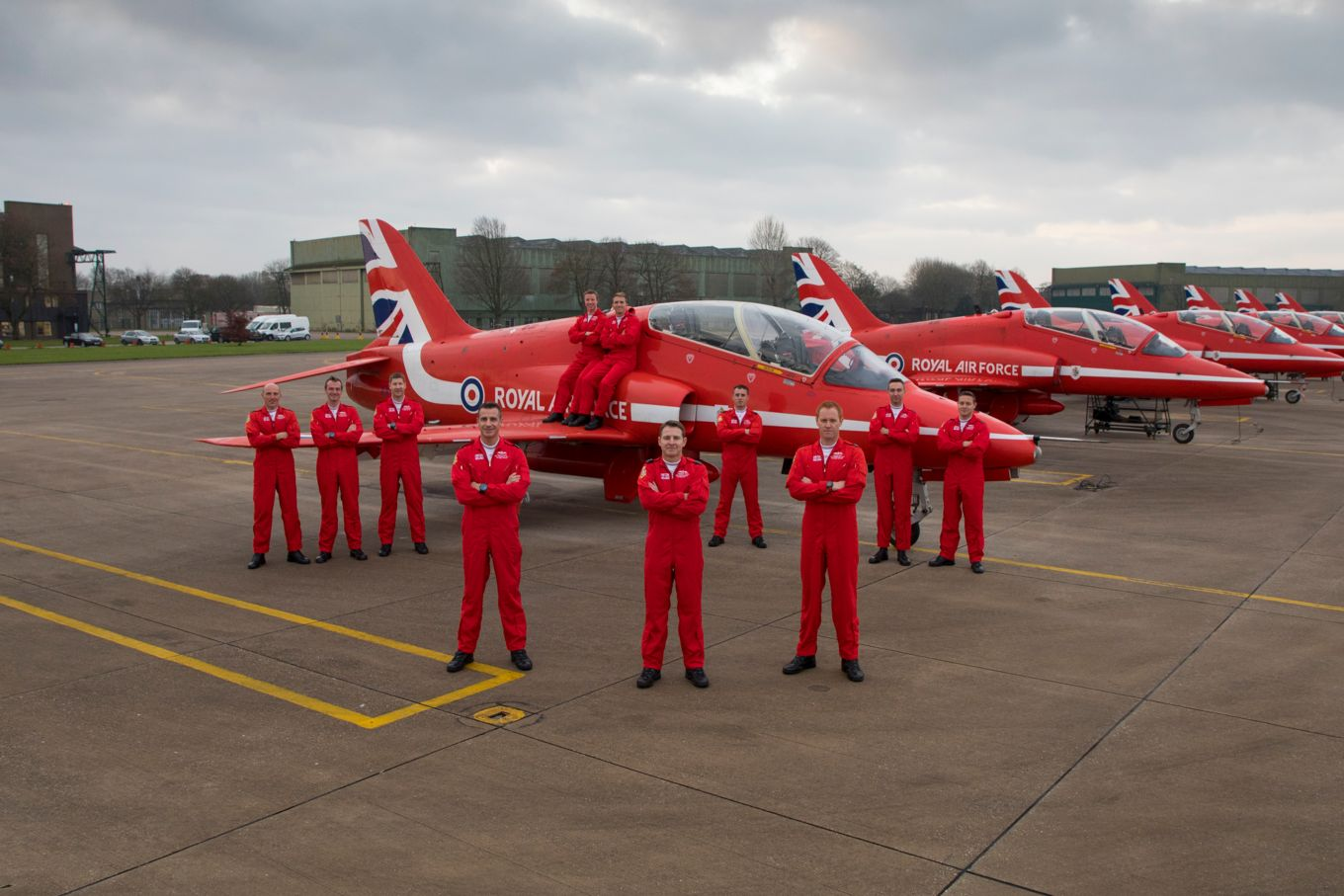 Reds 1-11: The Red Arrows pilots.