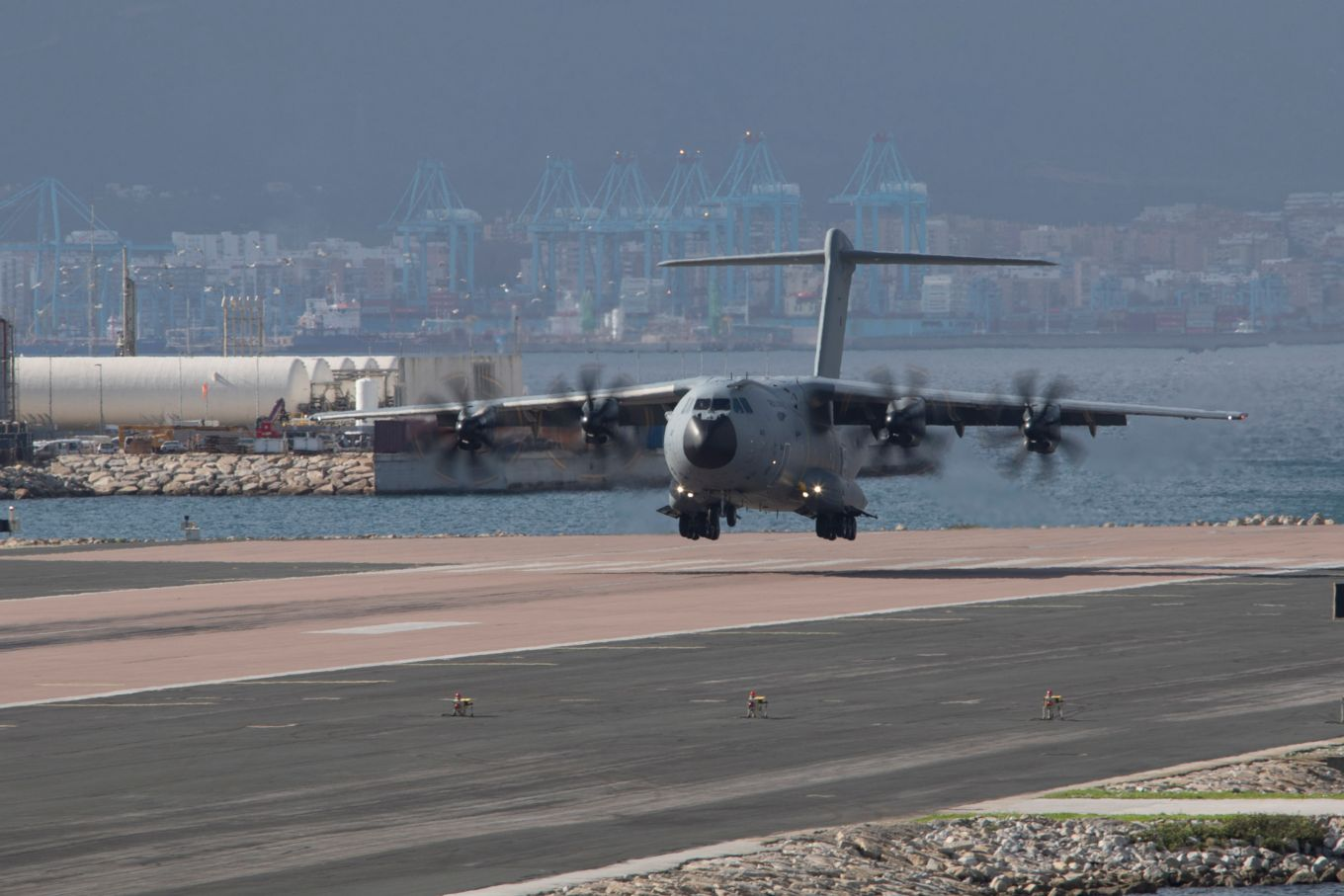 Image shows an RAF A400M aircraft touching down.