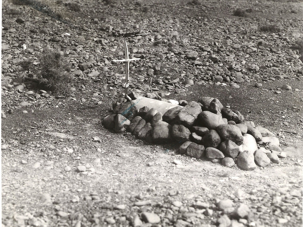 Image shows a black and white image of the original grave of Sergeant Connelly.