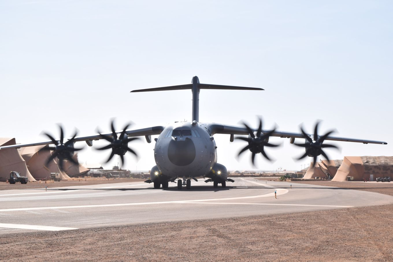 Image shows an RAF A400M Atlas aircraft on the ground.