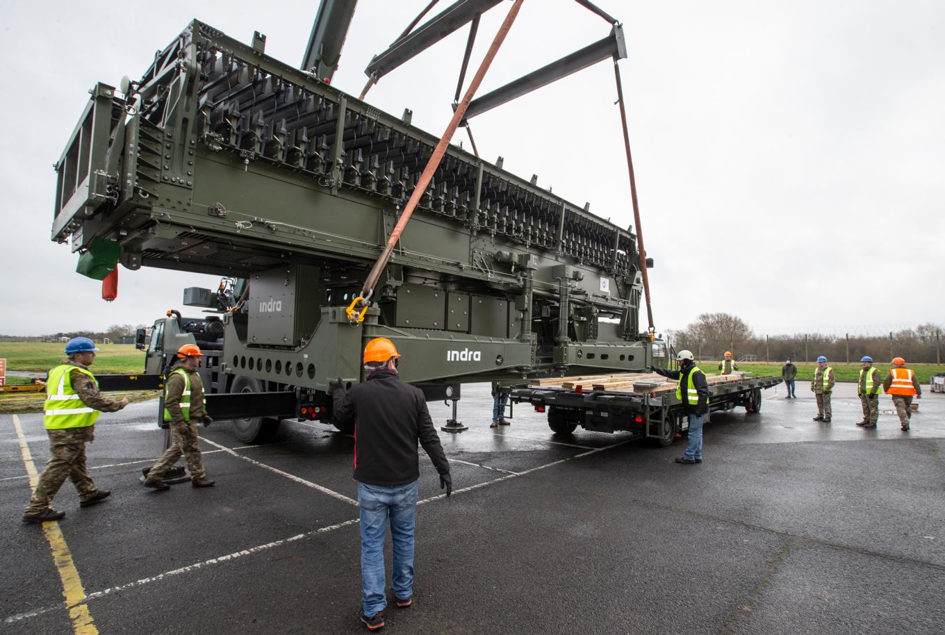 deployable radar being moved by RAF personnel