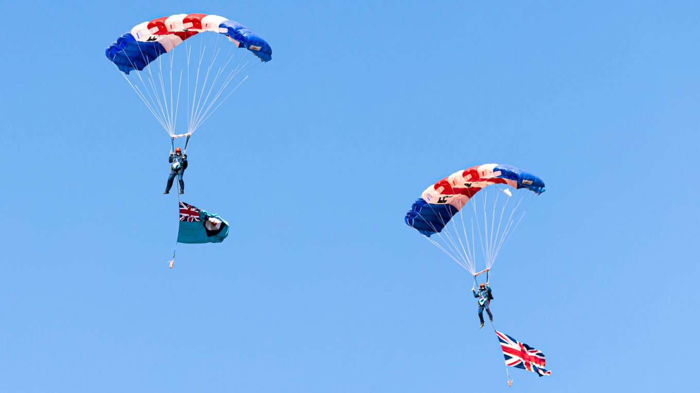 Members of the RAF Falcons conduct training with the Ensign Lowering Systems ready for the 2021 display season