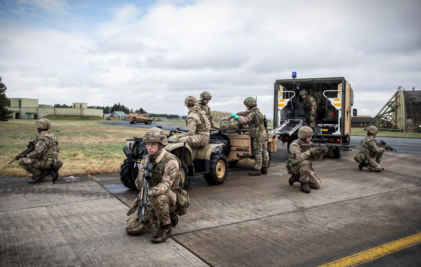 RAF Regiment providing Force Protection for casualty evacuation