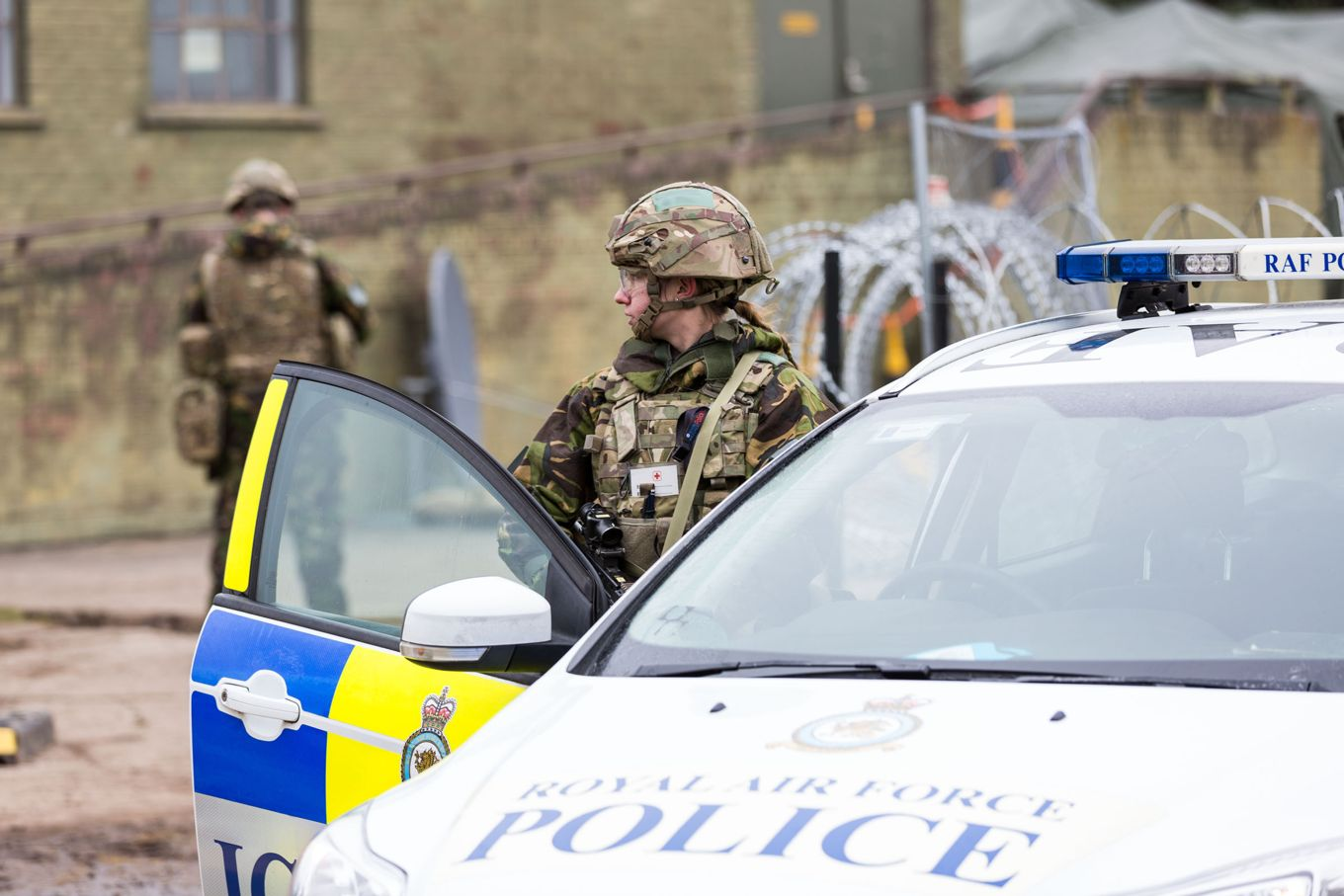 RAF Police carry out a CBRN task during CAPEVAL