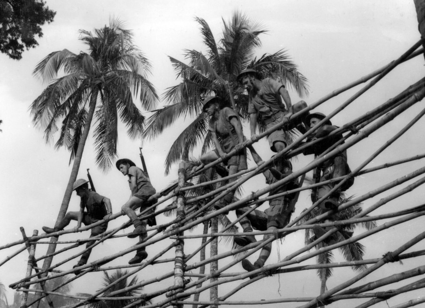 Men of the RAF Regiment clear an obstacle of bamboo poles while taking part in a course on jungle warfare in India.