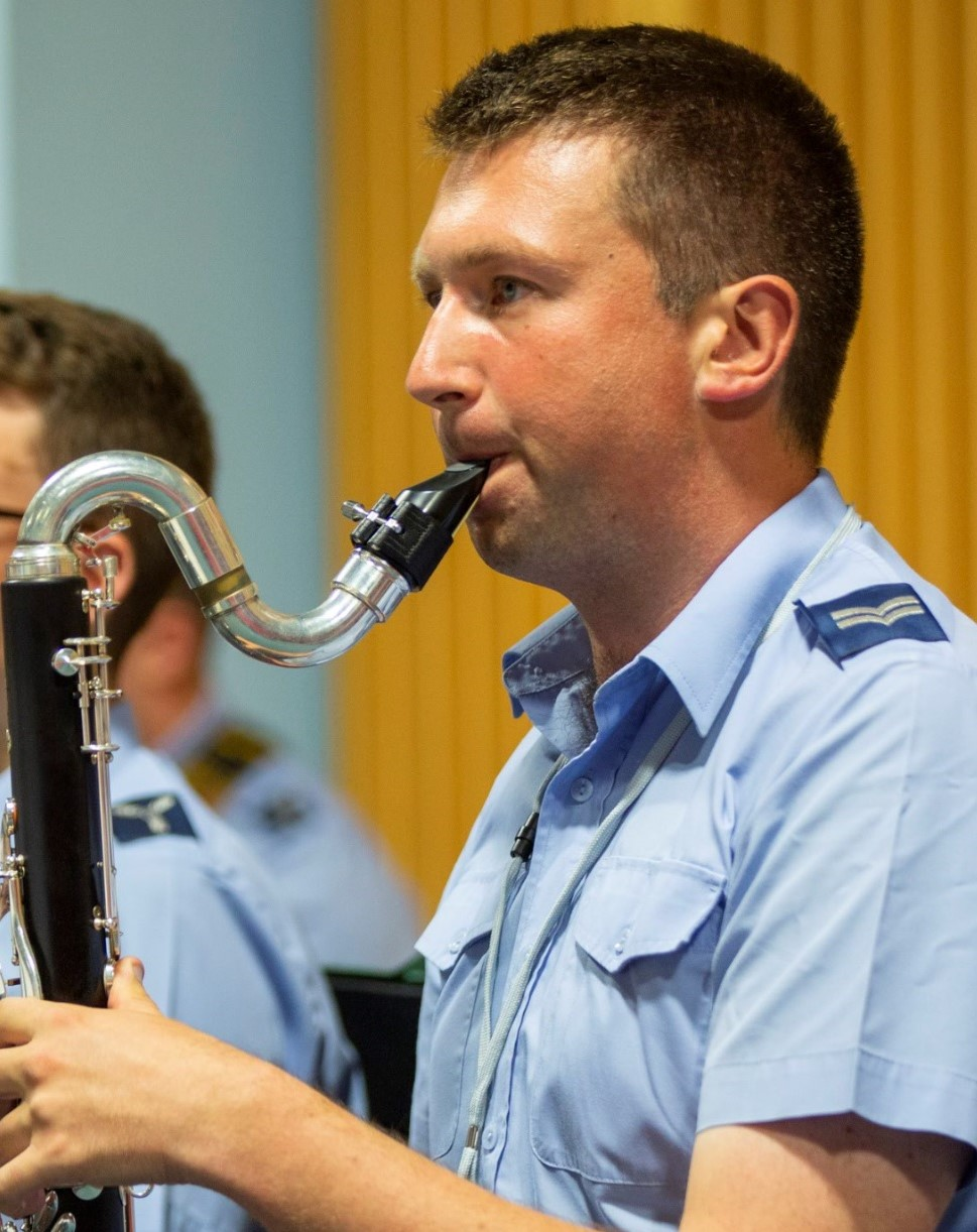 Royal Air Force musician plays bass clarinet