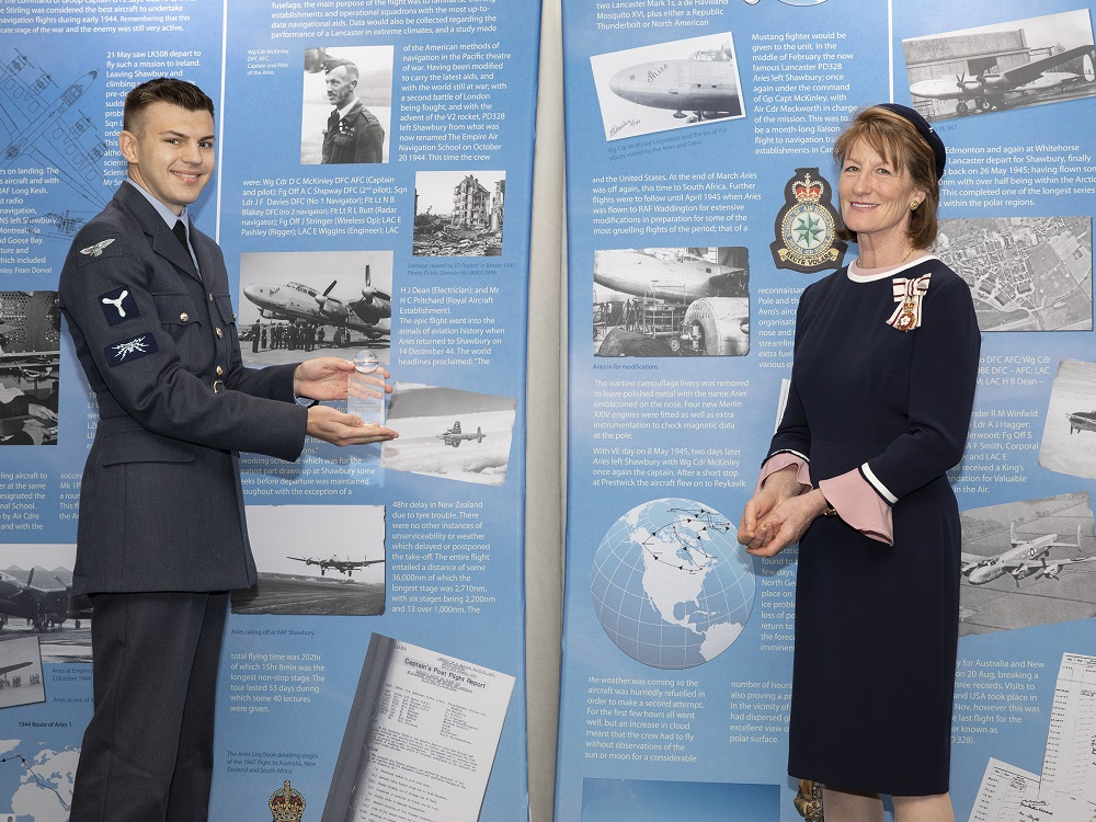 Senior Aircraftman Patrick Hammond receiving his award Most Outstanding Contribution to RAF Shawbury (Military).