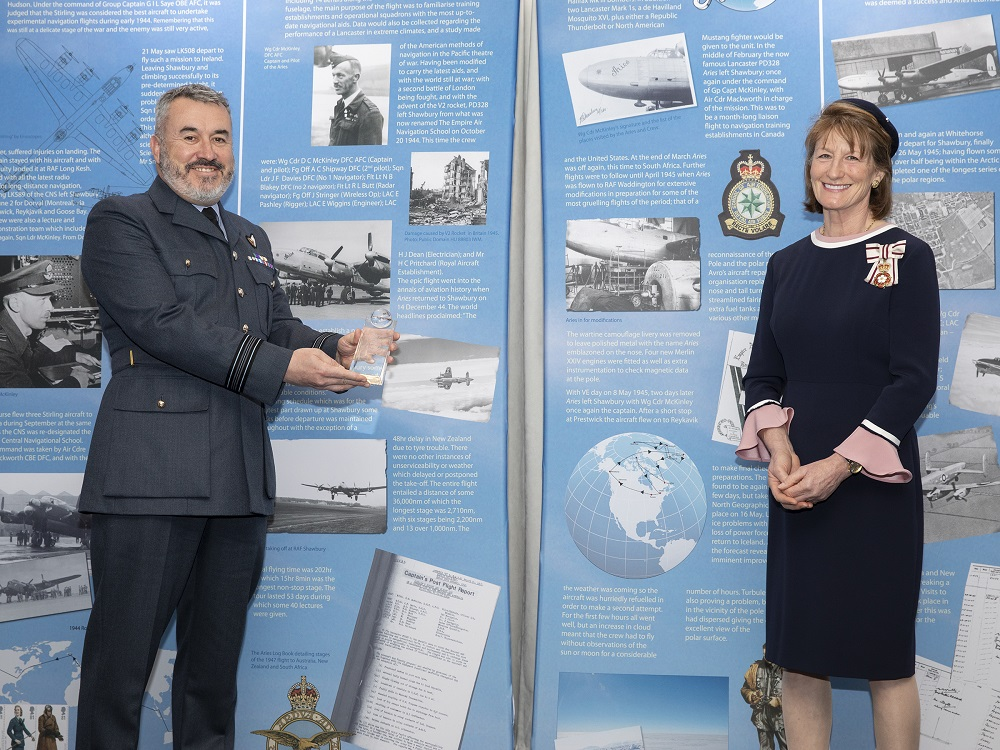 Squadron Leader Gary James receives the Community Spirit Award from Her Majesty's Lord-Lieutenant of Shropshire Mrs Anna Turner JP.